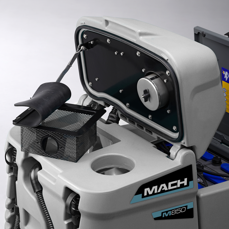 MACH M850 RIDE ON SCRUBBER EQUIPPED WITH STAINLESS STEEL DEBRIS COLLECTION BASKET