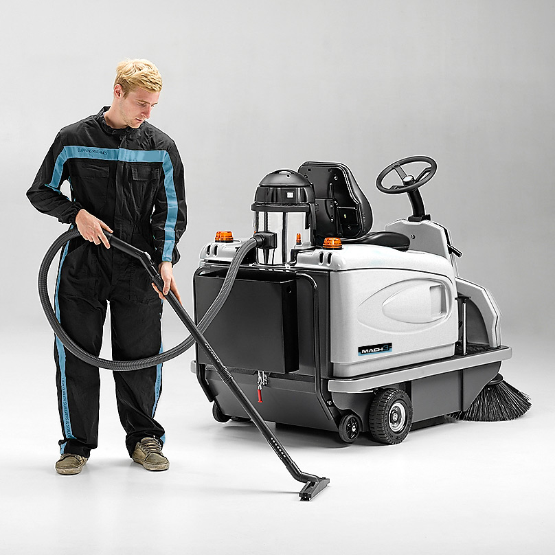 MACH 3 PRO RIDE-ON SWEEPER WITH ON-BOARD VACUUM CLEANER
