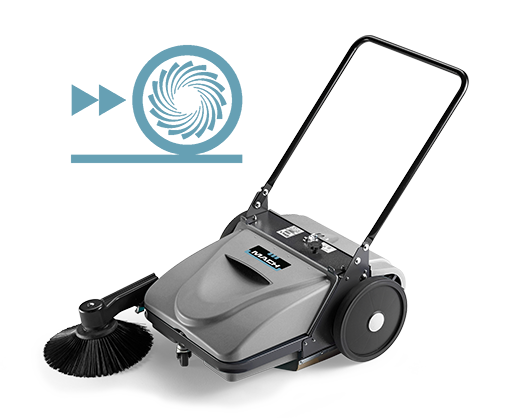 MACH MEP - WALK-BEHIND MANUAL SWEEPER WITH VACUUM FILTRATION SYSTEM
