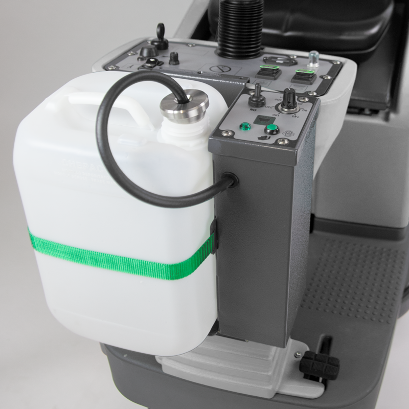 M650 RIDE ON SCRUBBER WITH DOSE-MATIC SYSTEM SAVES ON CHEMICAL AND COST