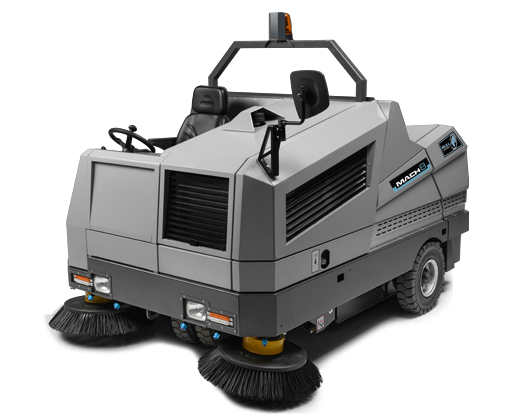 The MACH 8 is a powerful, heavy-duty sweeper, with a wide cleaning path