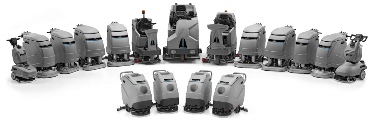Ride-on and walk-behind floor scrubbers and scrubber-dryers